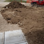 """View from front door showing slabs now laid """"properly"""""""